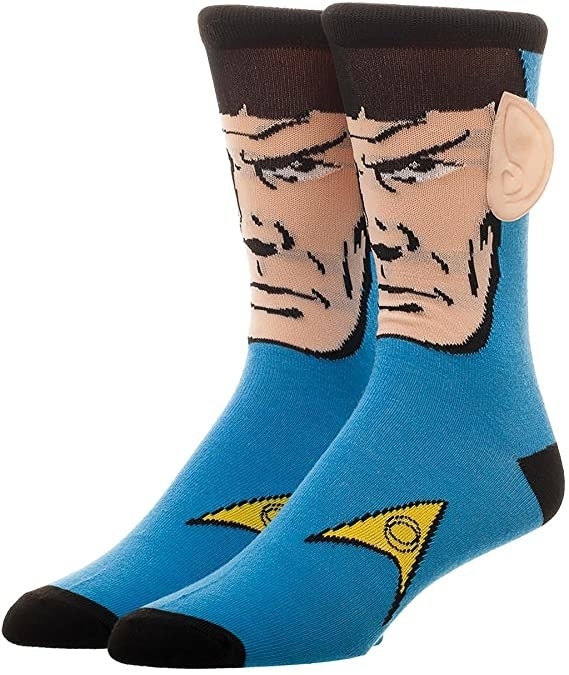 socks with Spock's face on it with ears that stick out from the sock fabric