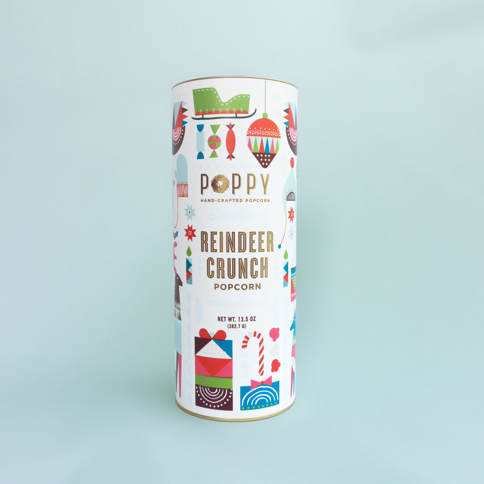 cylinder with festive illustrations