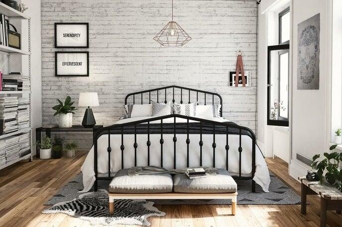 The black platform bed