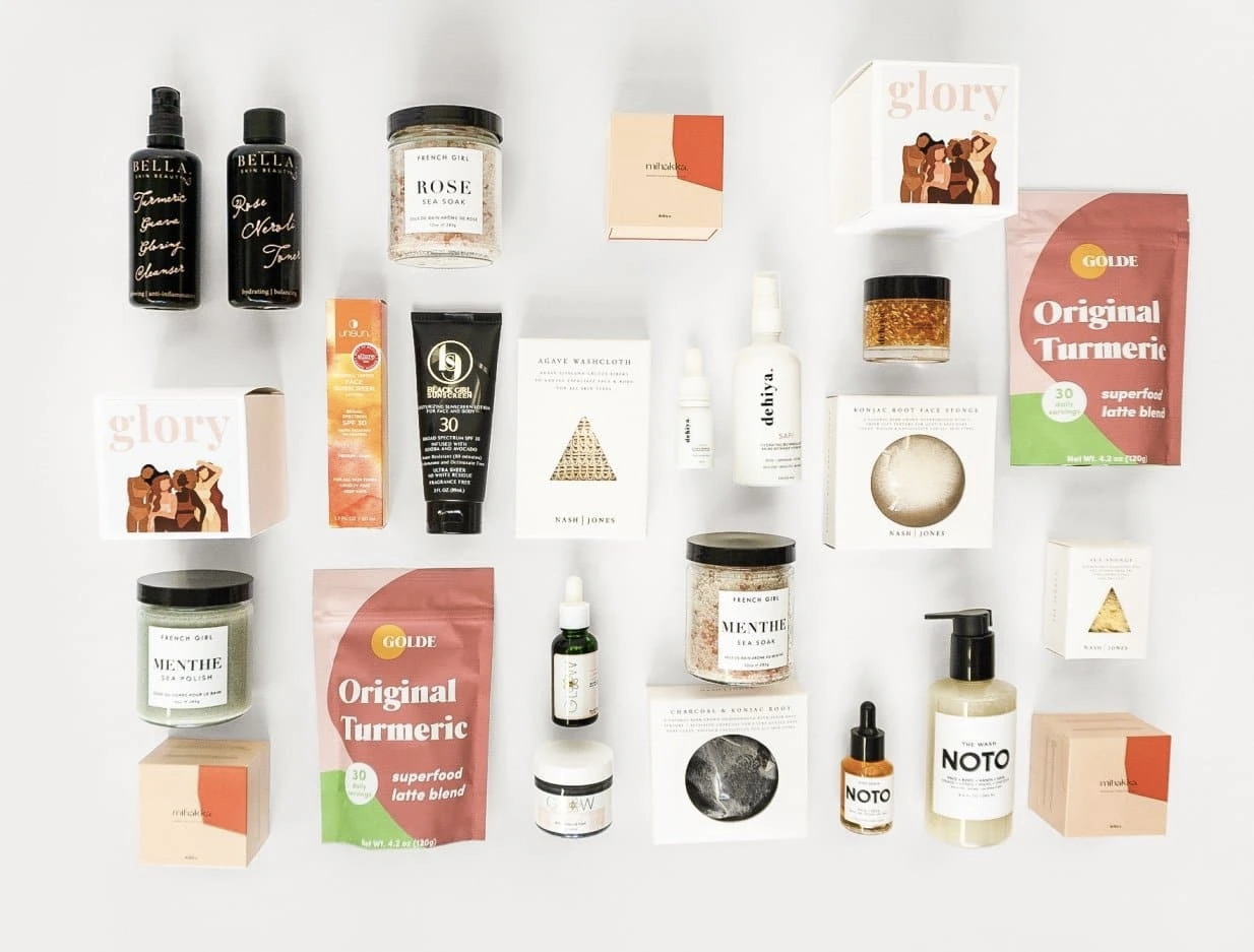 various beauty items in flat lay