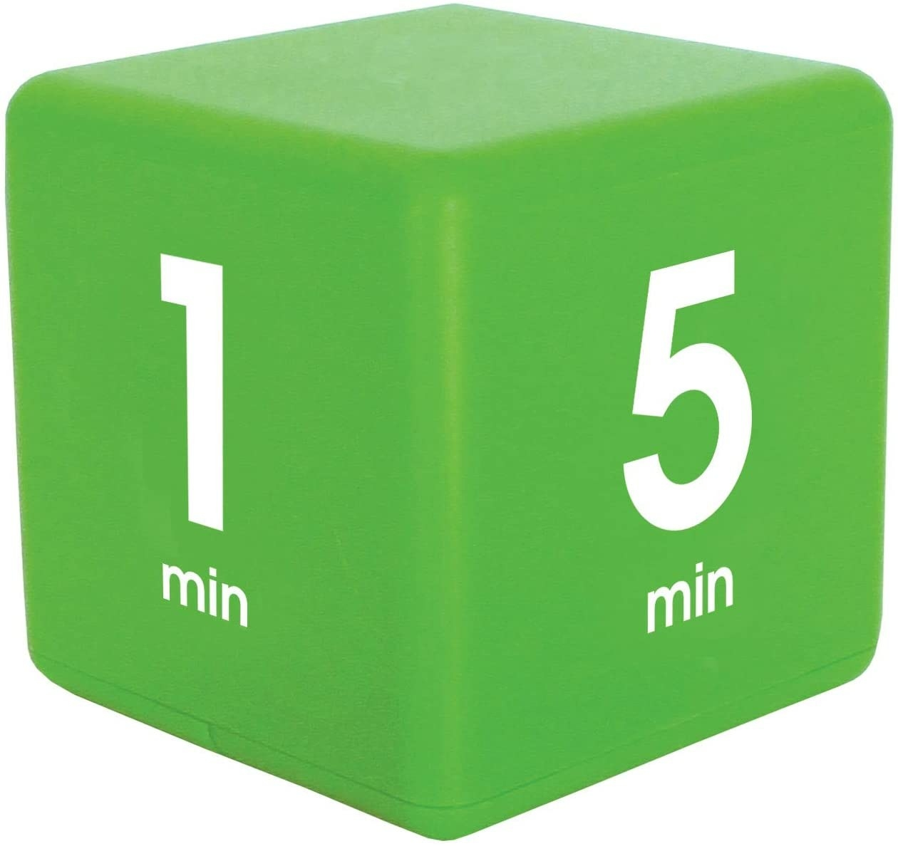 Lime green productivity timer cube isolated on a white background