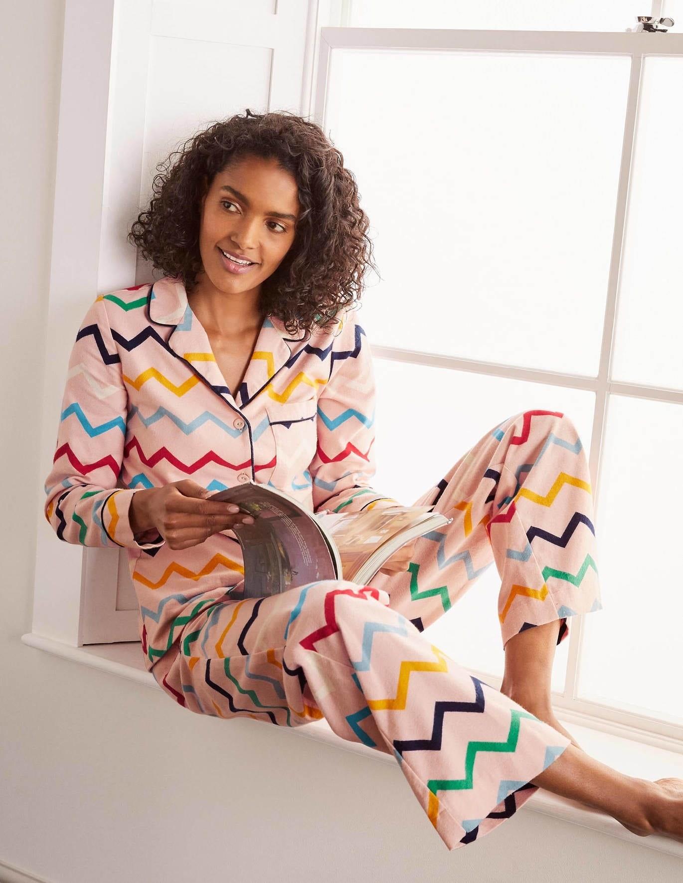 long sleeve pink pajamas with rainbow chevron stripes