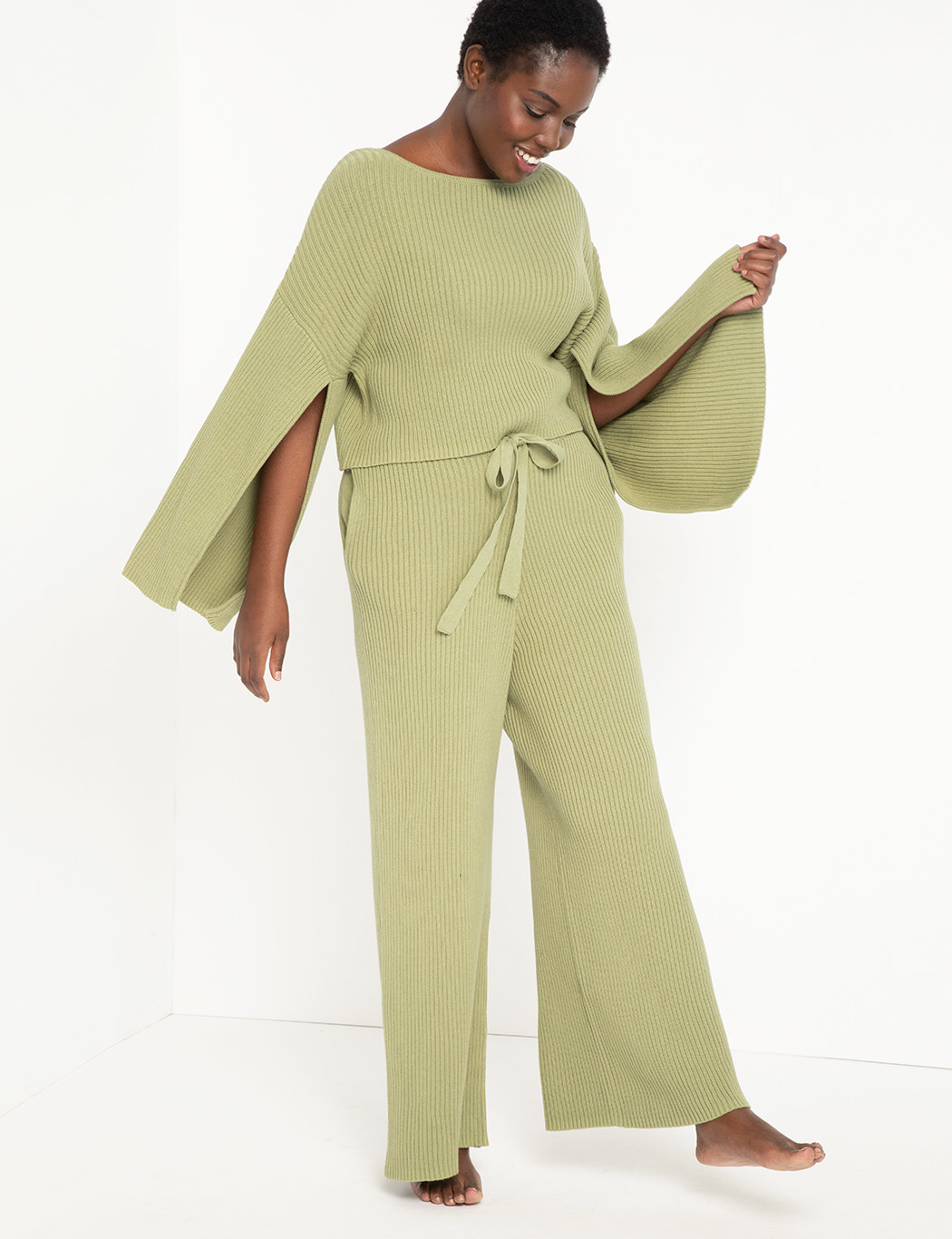 ribbed pants with tie waist in light green