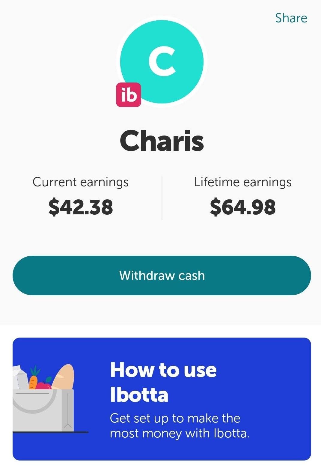 Screenshot of my savings on Ibotta; current earnings = $42.38