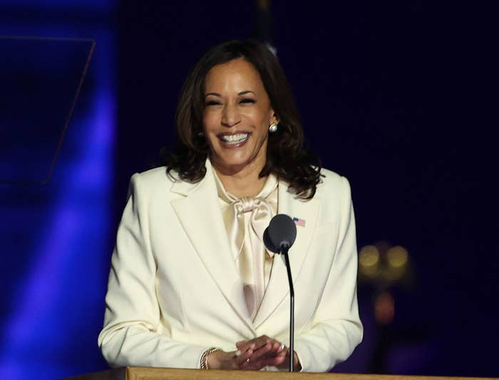 Vice President-elect Kamala Harris on stage making a speech after winning the election