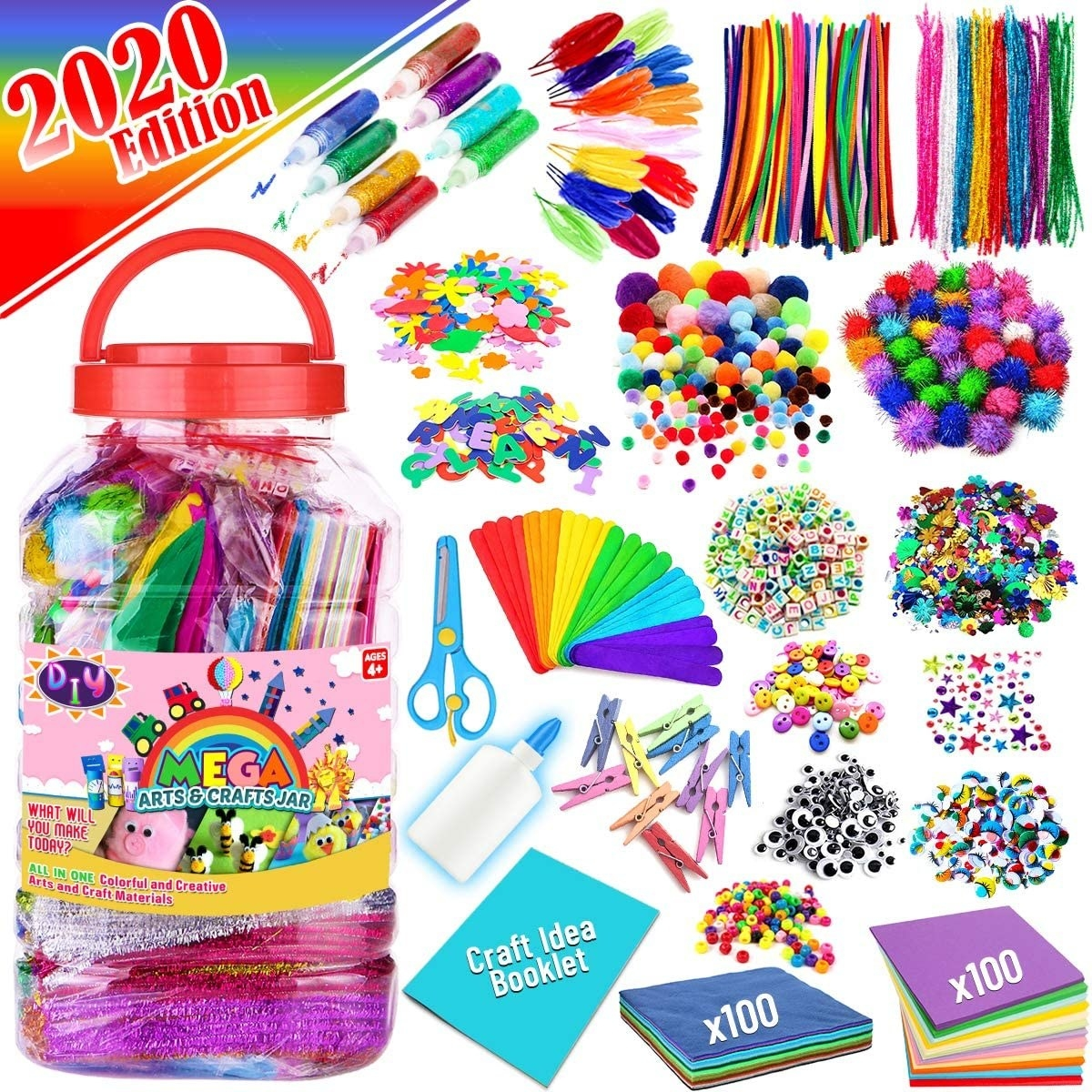 A large plastic jar filled with colorful craft supples, like pipe cleaners, pom poms, popsicle sticks, and felt.
