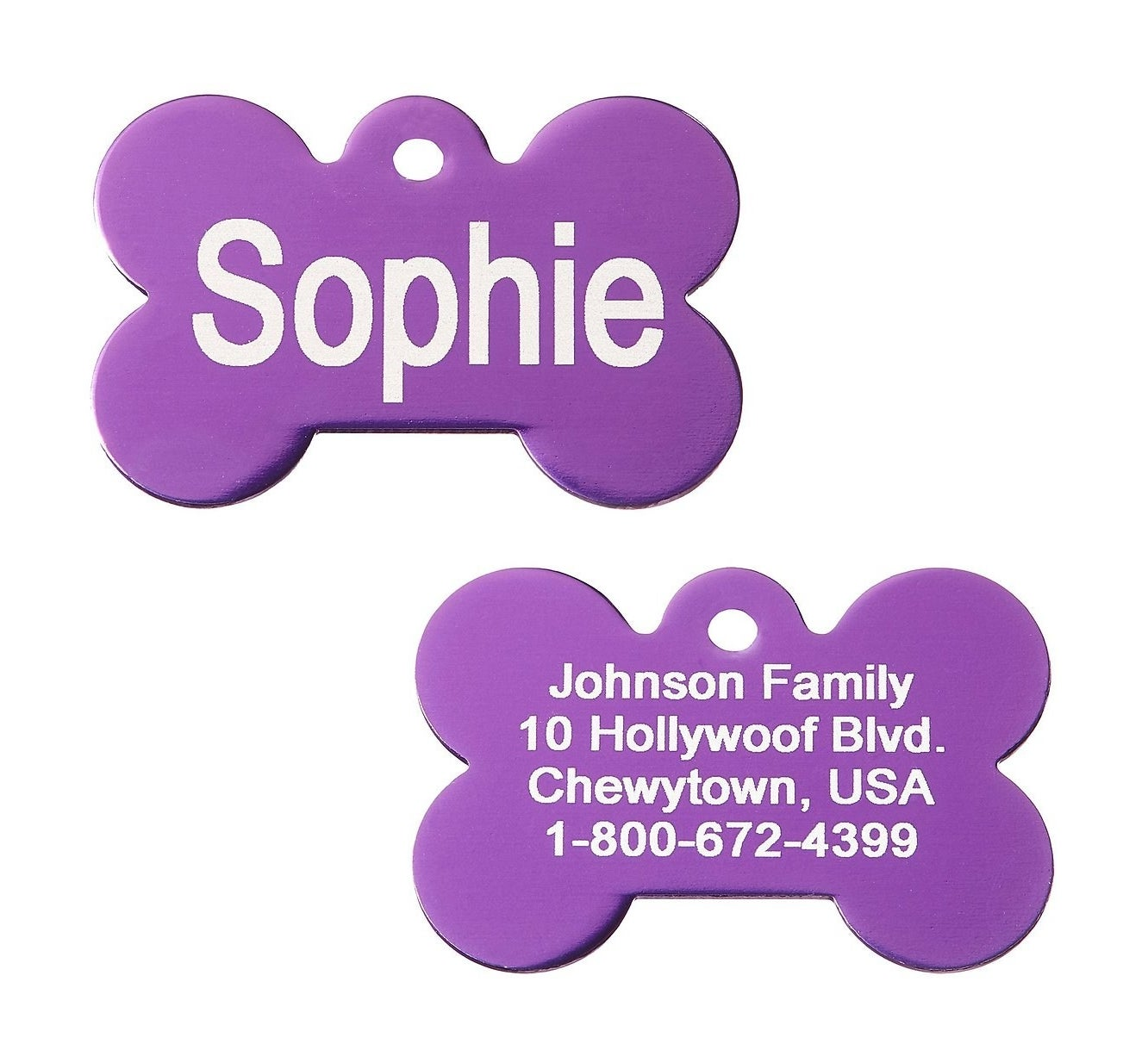The front and back of the dog tag showing a name, family name, address, and phone number