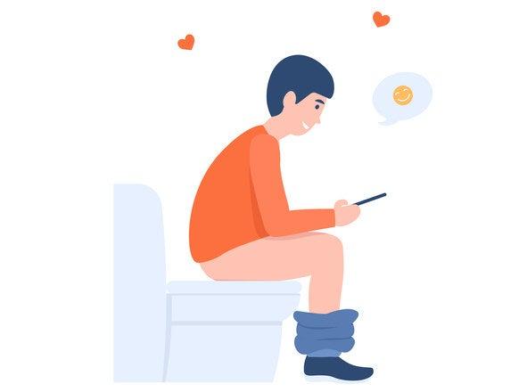 Cartoon guy on toilet