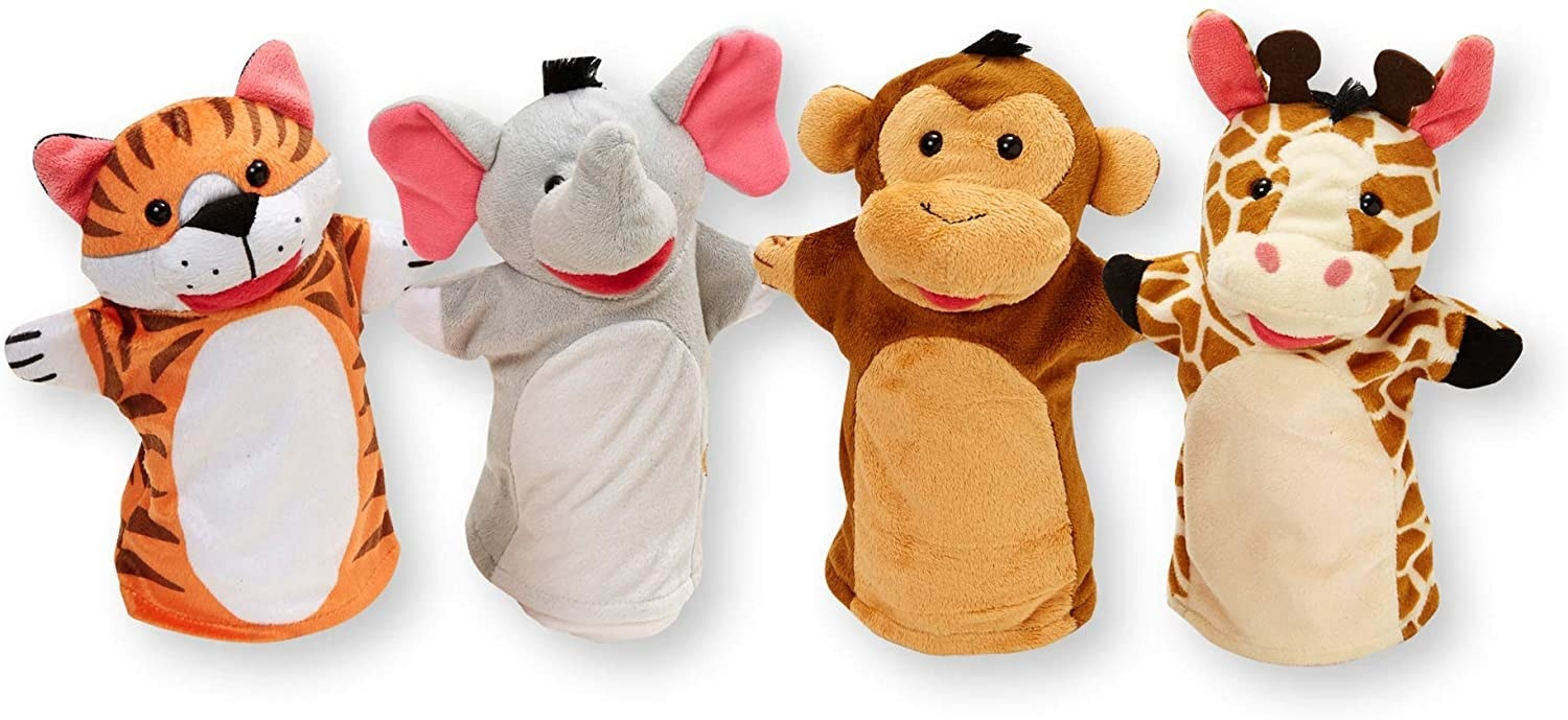 A set of four hand puppets with a tiger, an elephant, a monkey, and a giraffe.