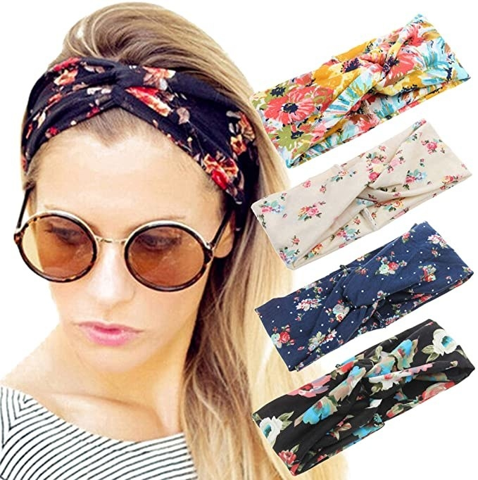 A model wearing a floral criss cross headband, and several other pattern options next to her