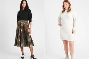 On the left, a pleated skirt, and on the right, a sweater dress