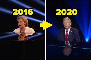 McKinnon as Clinton playing the piano in 2016 and Baldwin as Trump doing the same in 2020