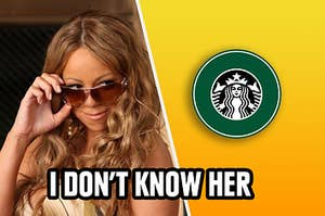 Mariah Carey being shady to the Starbucks logo