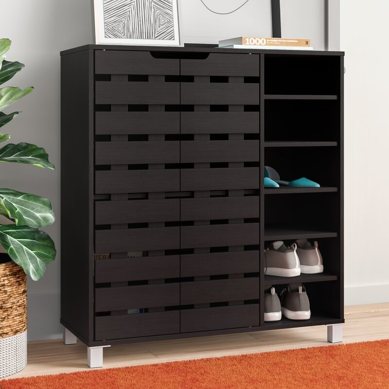 brown cabinet for shoes