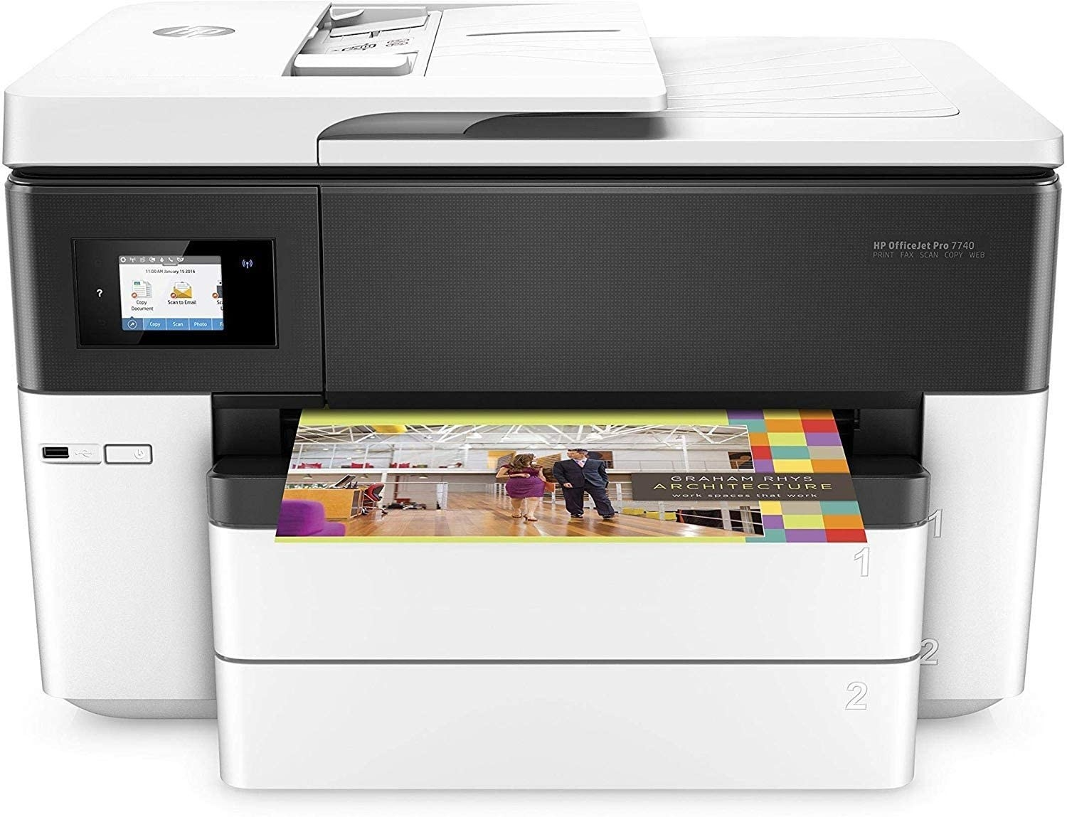 A large desktop printer with a scanner and fax attachment on the top