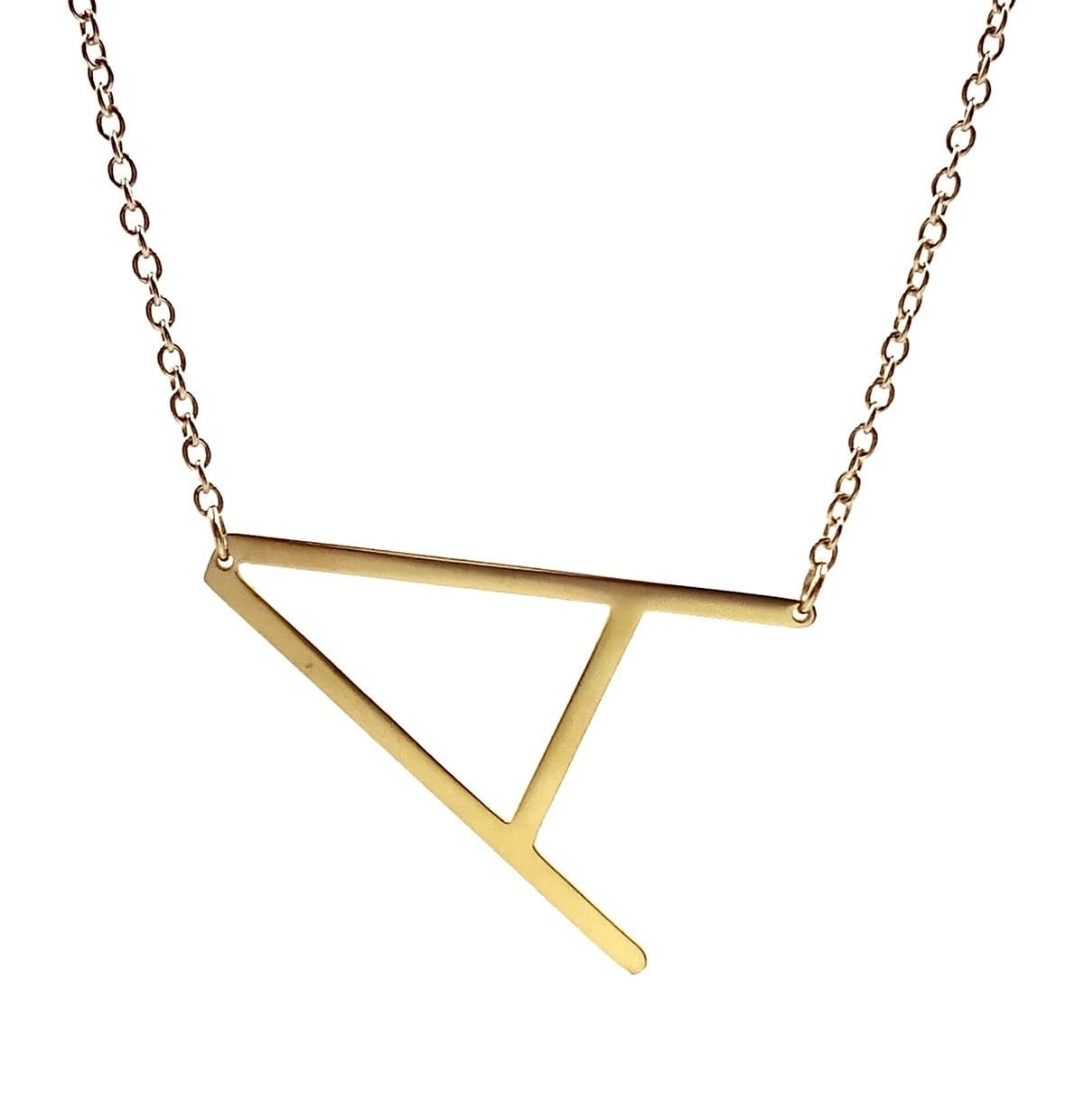 the savvy cie 14k gold plated initial necklace in the letter A