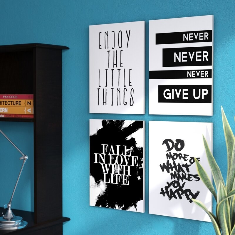 """The art prints that say """"Enjoy the little things"""", """"never never never give up"""", """"fall in love with life"""", """"do more of what makes you happy"""""""