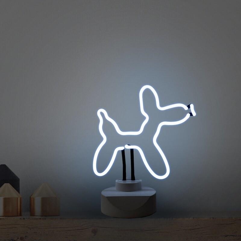 A neon light shaped like a dog