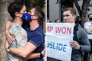 """Two men with Biden masks kissing next to a man looking upset with a sign that reads """"Trump won"""""""