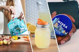 A person putting food into a large silicone food bag, A Mason jar filled with lemonade that has a spout on the lid, A person's hand with a tin of hand cream in it