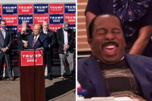 Rudy Giuliani speaking at the press conference next to a reaction meme of laughing