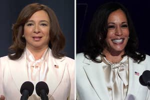 Maya Rudolph and Kamala Harris matching outfits side by side