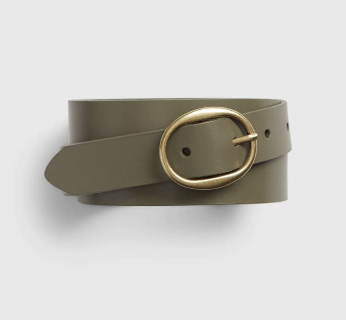 Olive green belt with oval buckle