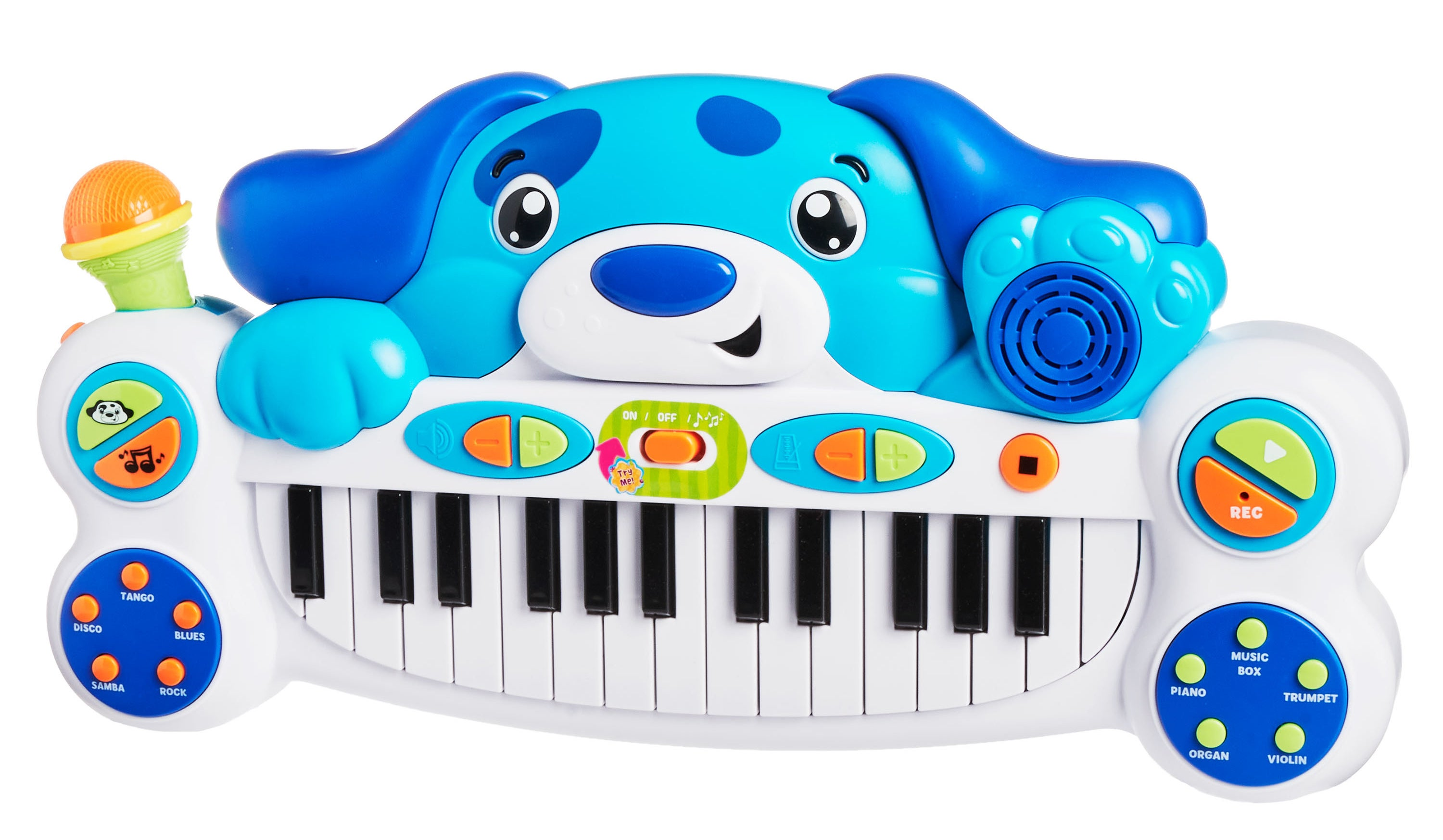 The keyboard, which has piano keys in the center, and tempo, volume, and record settings on the sides, with the big blue puppy head at the top of the keyboard