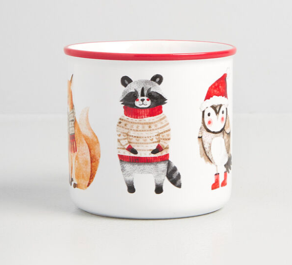 forest animals in sweaters and hats on the mug
