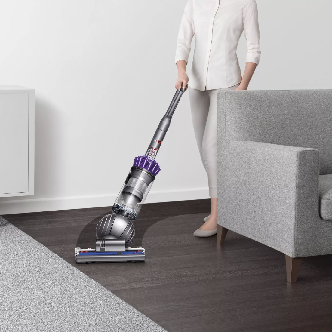 model using the Dyson vacuum cleaner