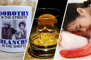 A Golden Girls mug that says Dorothy In The Streets, Blanche in The Sheets, a skull shaped ice cube in a glass, and a neck pillow that looks like a giant shrimp