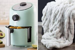 air fryer and blanket