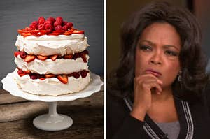 On the left, a layer cake with strawberries and raspberries, and on the right, Oprah places a hand on her chin and furrows her eyebrows, deep in thought