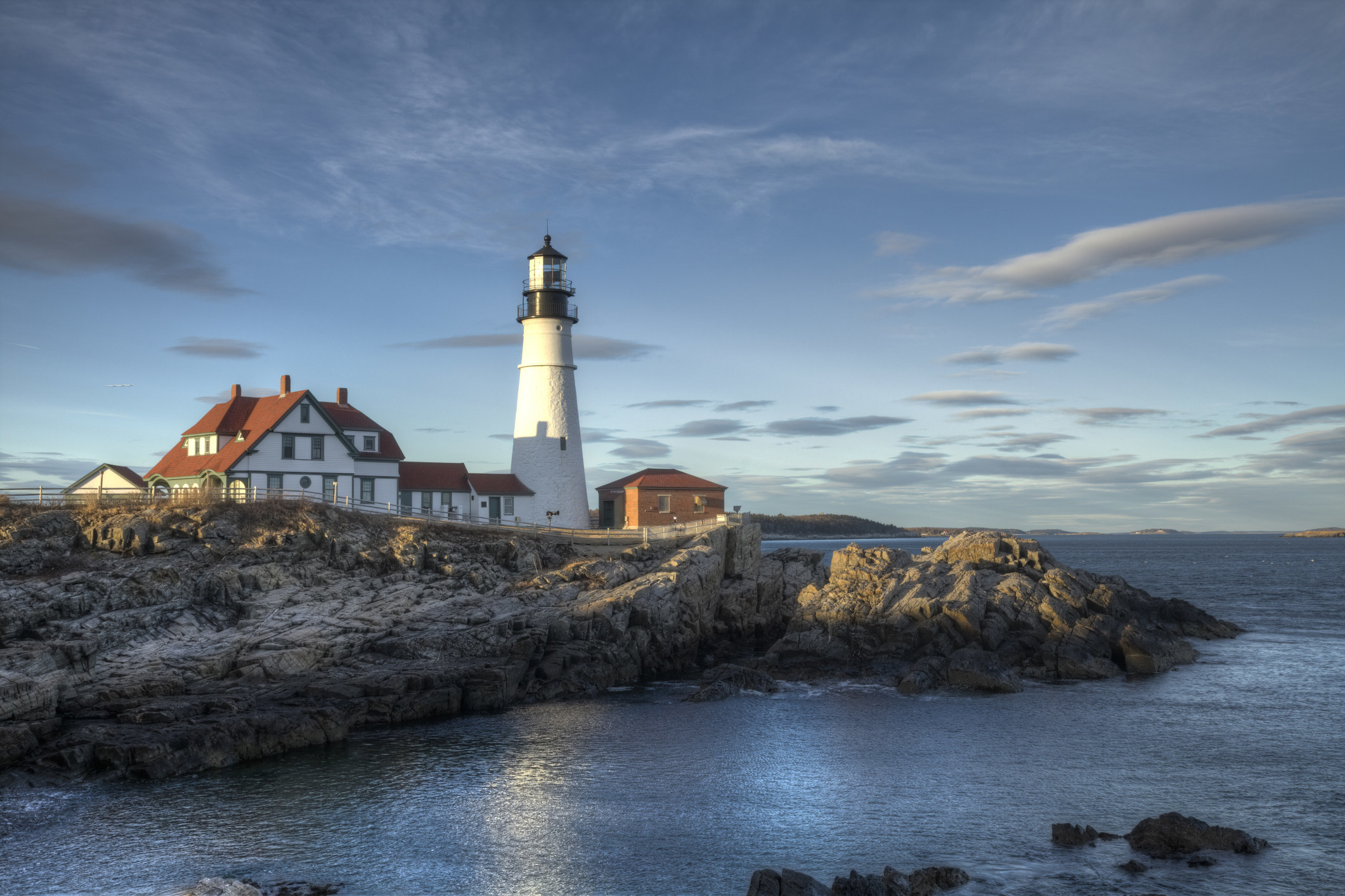 Portland Head Lighthouse under an almost-sunset sky