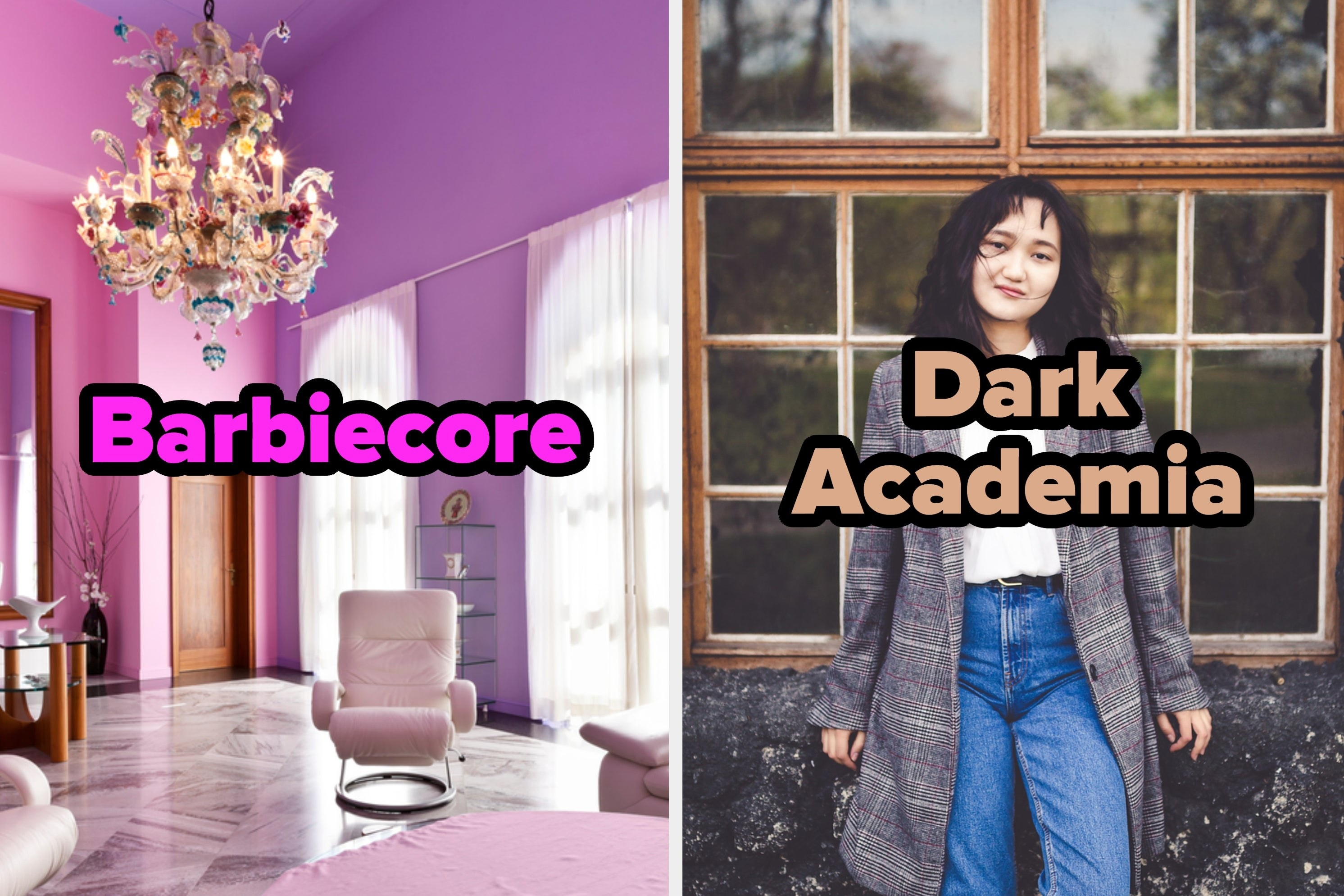"A room decorated in shades of pink labeled ""Barbiecore"" and a woman in a plaid blazer labeled ""Dark Academia"""