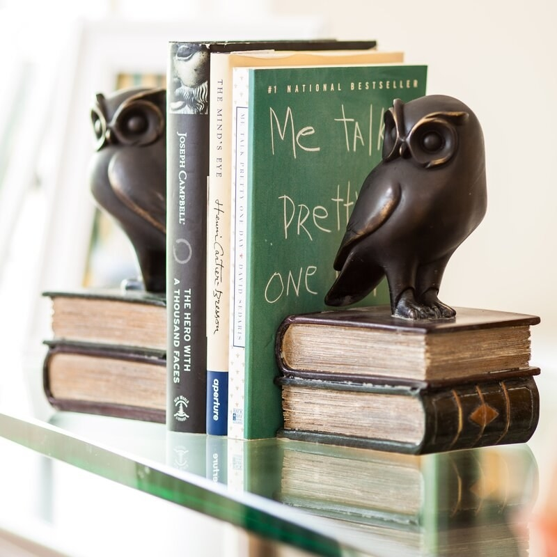 Owl bookends holding up three books