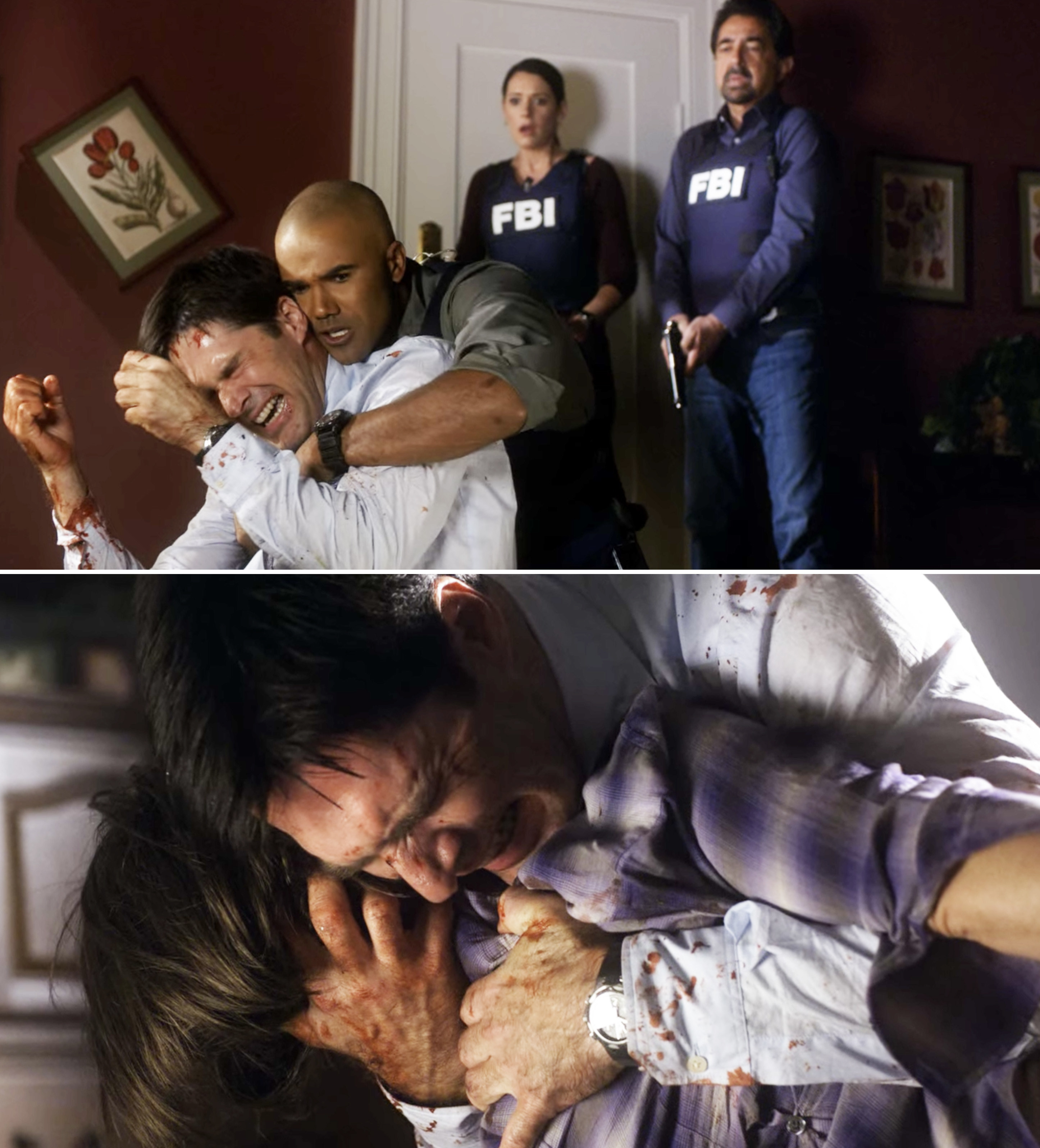 Hotch weeping and clutching Haley's body