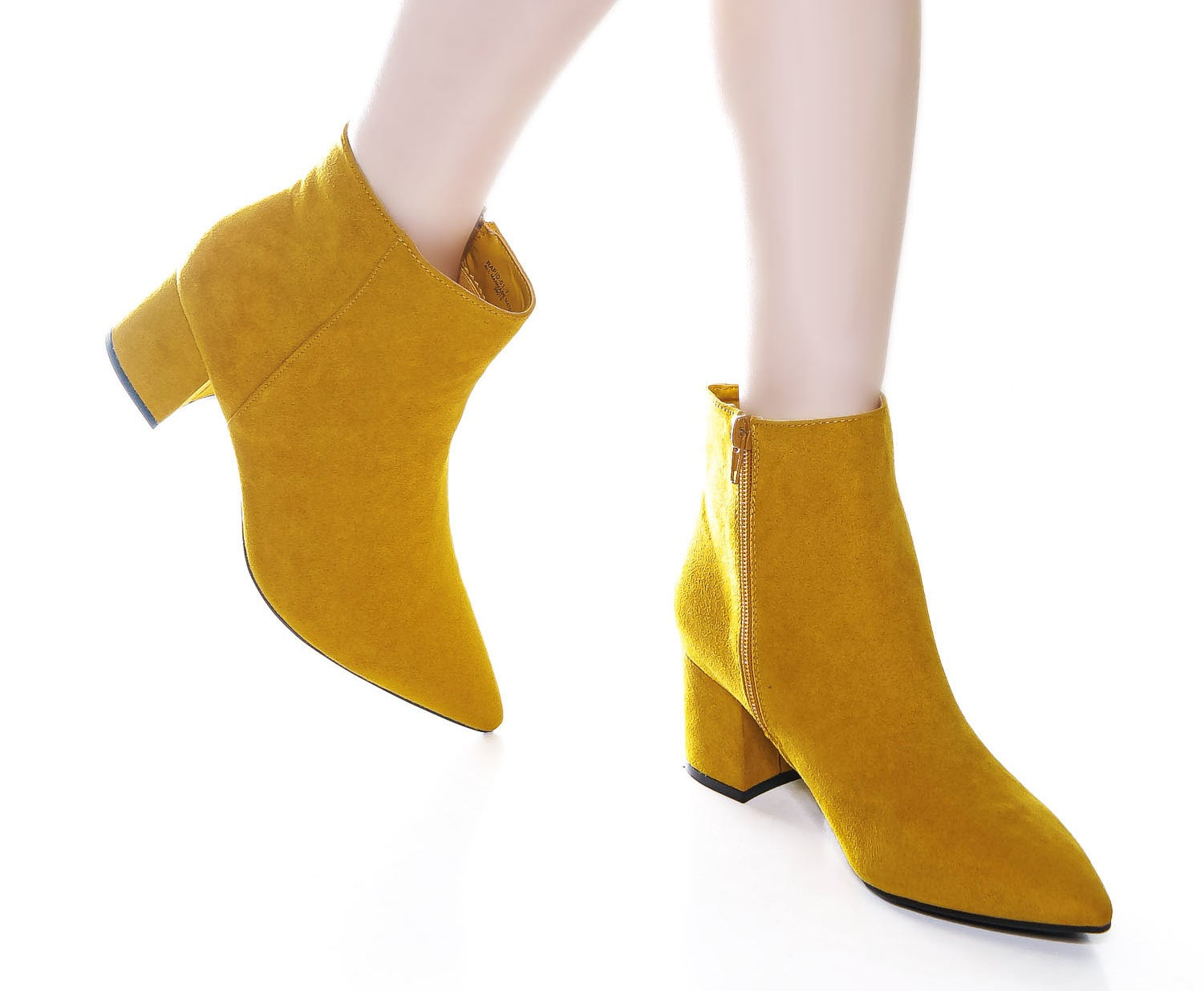 The faux suede beauties in mustard yellow