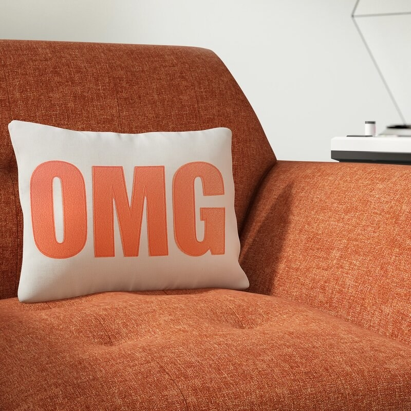 """The pillow with the word """"OMG"""" on it on a couch"""