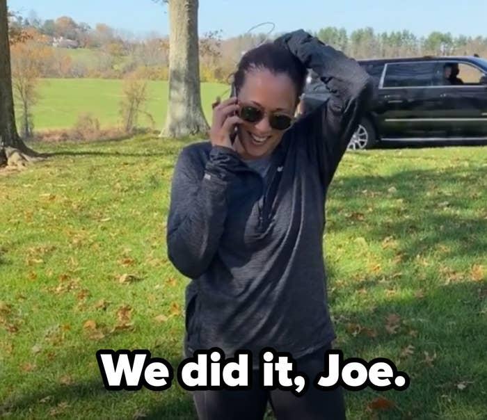 Kamala Harris talking to Joe Biden on the phone after they won the 2020 Presidential race