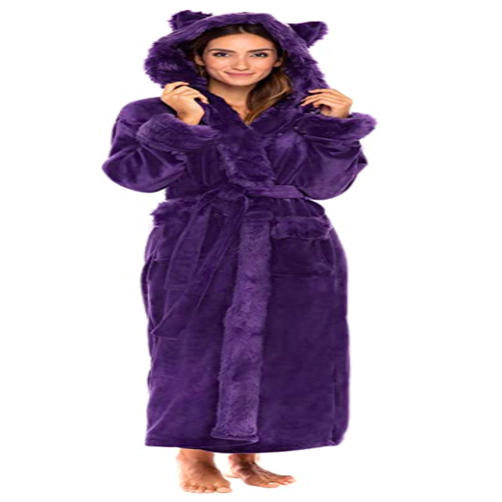 a model wearing the robe in purple with faux fur ears on the hood