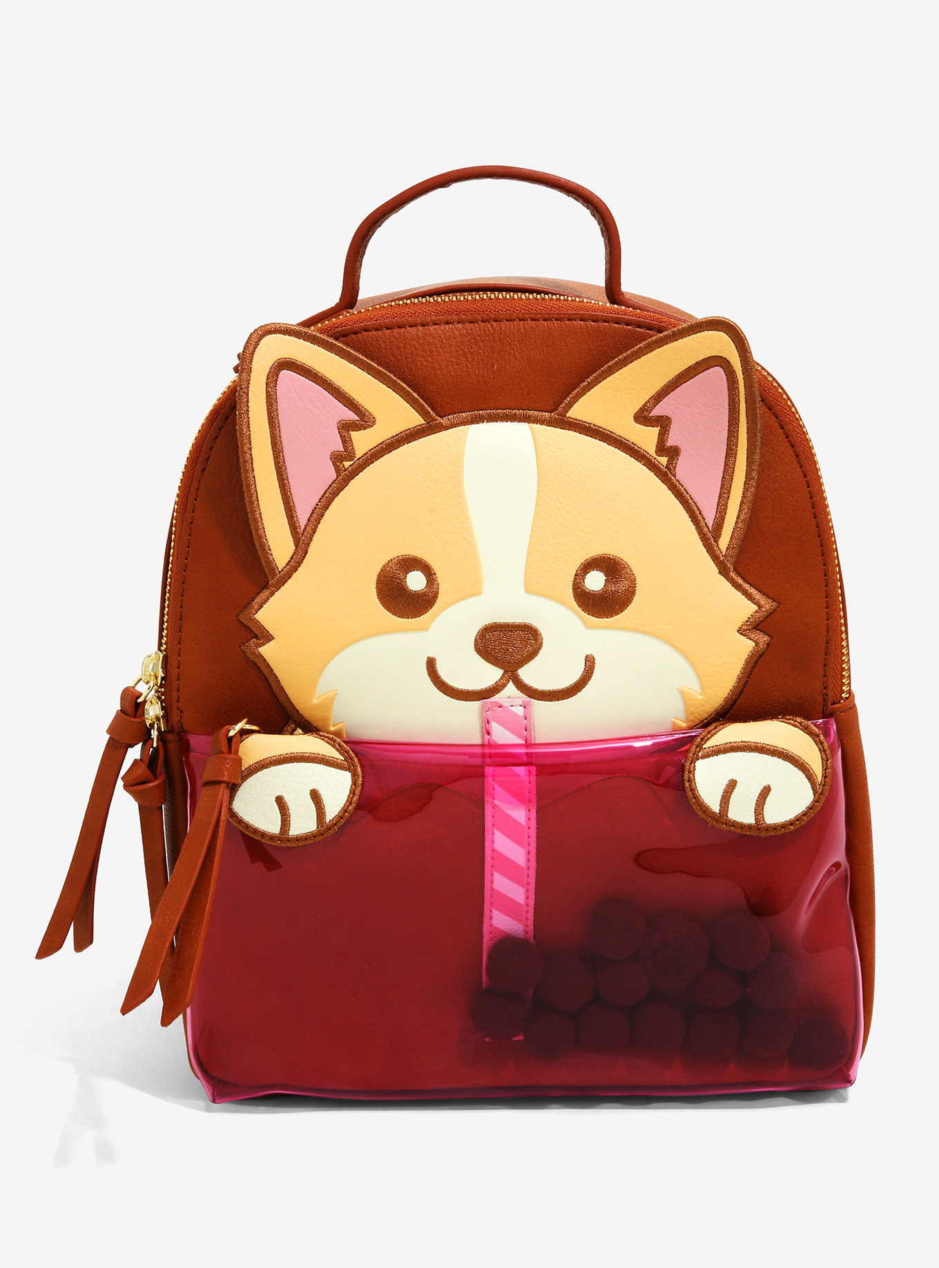 a red backpack with a corgi on it who is drinking boba from a sewn-on straw