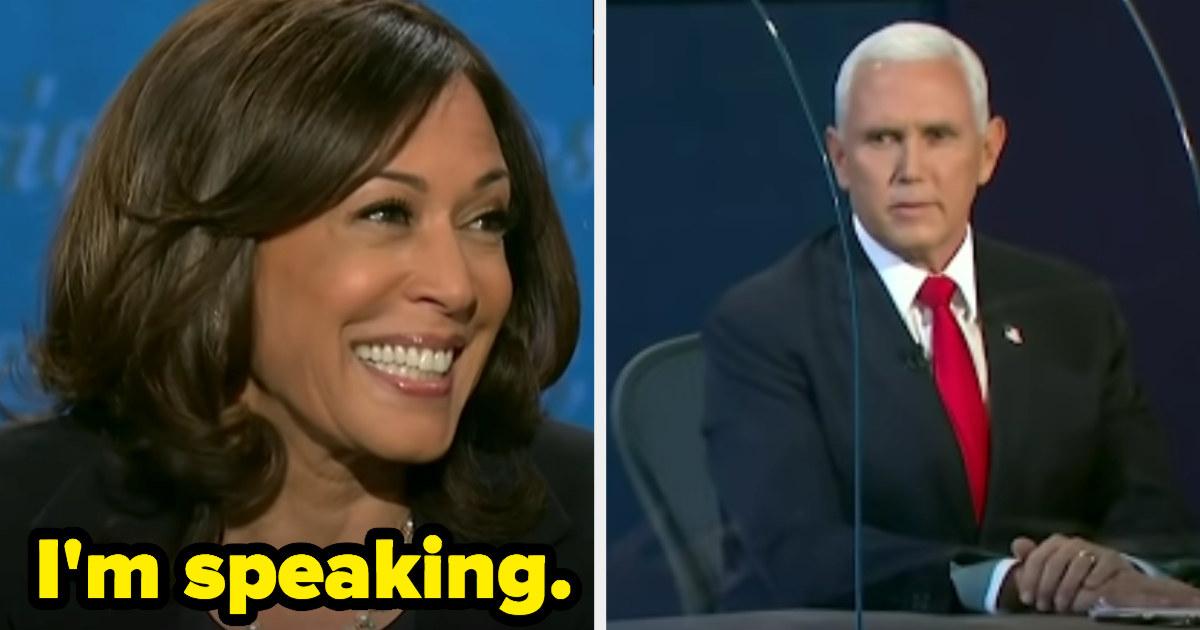 "Kamala Harris telling Mike Pence ""she's speaking"" during the 2020 Vice Presidential debates"