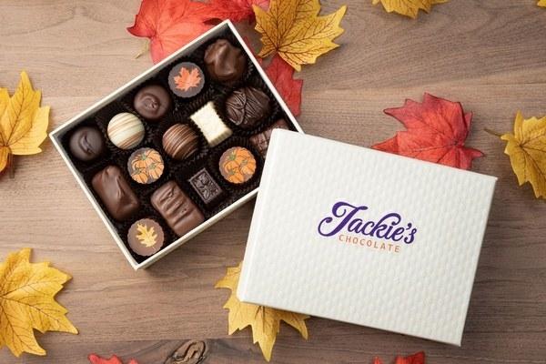 a box of autumn-themed chocolates