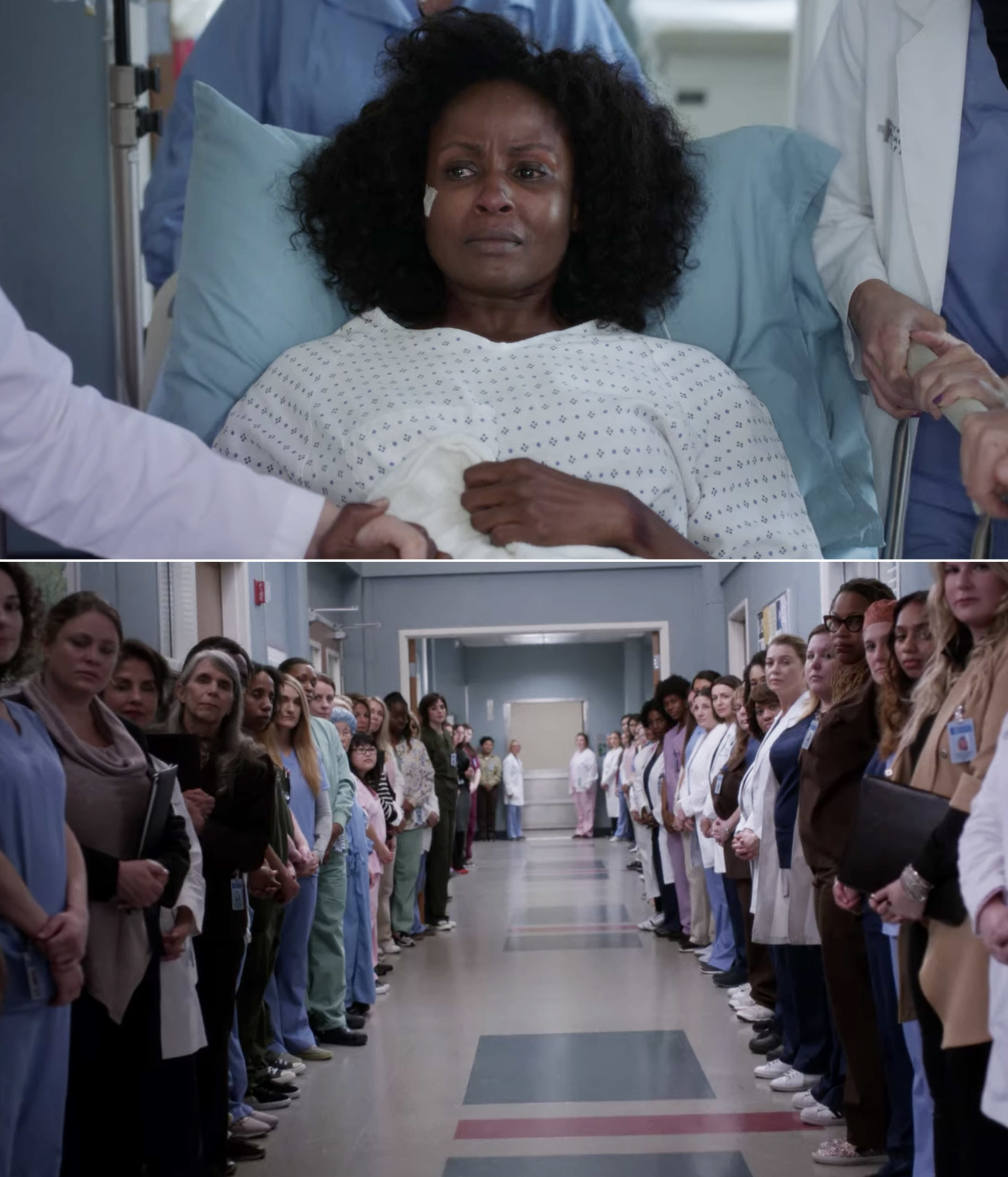 The women of Grey Sloan lining the hallway as a sexual assault survivor is taken to surgery