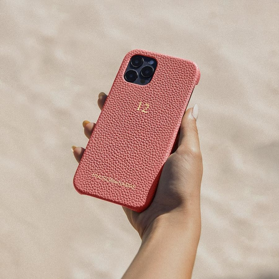 A pink leather iPhone case