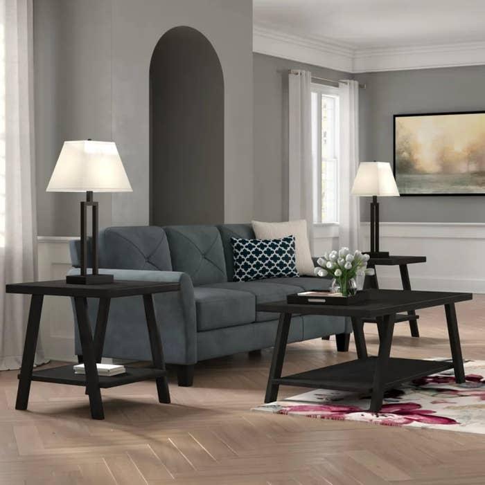 The three-piece coffee table set