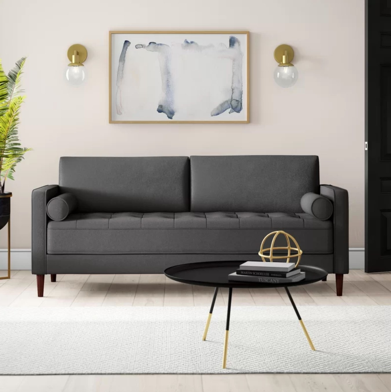 The arm sofa in heather gray polyester