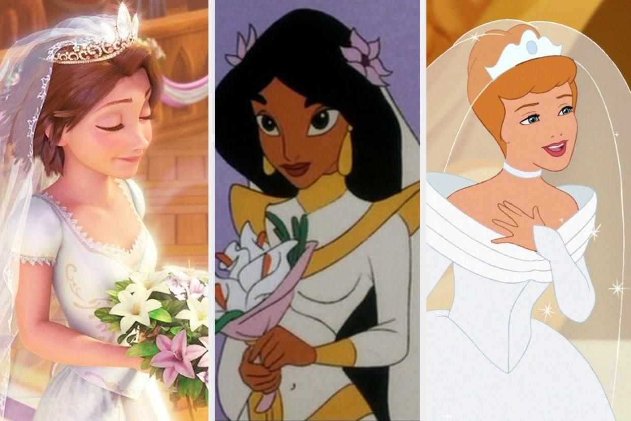 Rapunzel, Jasmine, and Cinderella in wedding dresses