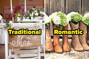 Wooden sign saying Mrs. and the word traditional on top, and cowboy boots with flowers and the word romantic on top